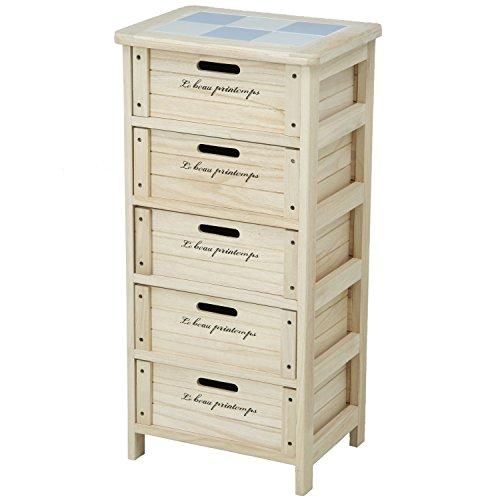 不二貿易 木製ボックス 5段 幅40cm ナチュラル 68095