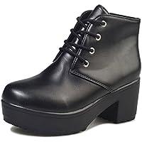 [ジルア] ショートブーツ 厚底 太ヒール レースアップ レディース 靴 紐 軽量 ブラック ホワイト #061
