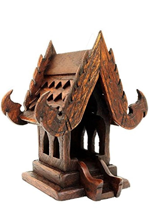 発揮する影のある肺タイ仏教ハンドメイドチーク材木製Spirit家。(家、w4