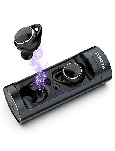 ワイヤレス イヤホン RUOBAI Bluetooth イヤホン 6H音楽再生時間毎回 IPX6防水 Bluetooth 5.0進化版 高音質 タッチ式 自動ペアリング 完全 ワイヤレス イヤホン (深灰色)