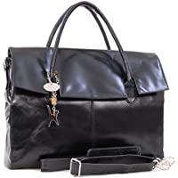 Catwalk Collection Handbags - Ladies Extra Large Leather Briefcase/Shoulder/Cross Body Bag - Women's Organiser Work Bag - Laptop Bag With Padded Compartment - HELENA