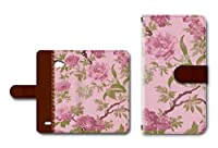 VAIO Phone Biz (VPB0511S)対応 手帳型ケース カメラ穴搭載 ダイアリー スマホカバー レザー製 花柄 【ピンク】