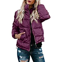 Dokotoo Womens Fashion Solid Long Sleeve Zip Up Pocketed Quilted Puffer Jacket Outerwear