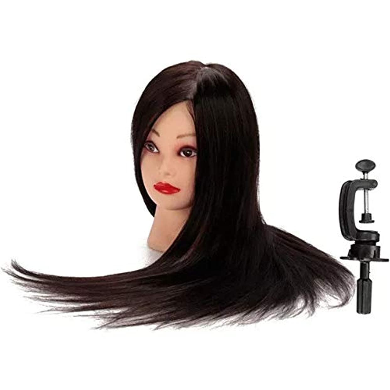 神プライム真剣にヘアマネキンヘッド 50%のブラック本物の人間の髪の毛のトレーニング頭部理髪カッティング練習マネキンモデルクランプホルダ ヘア理髪トレーニングモデル付き (色 : ブラック, サイズ : 25*15*11cm)
