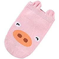 AUPPOVA Baby Infant Socks Newborn Cotton Boys Girls Cute Cartoon Toddler Anti-Slip Socks (S, Pink)
