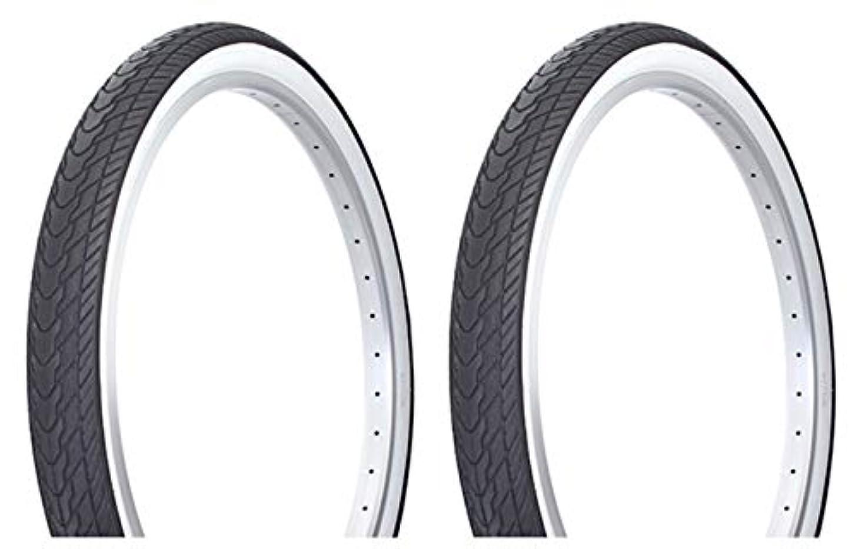 名目上のバドミントン遠いLowrider タイヤセット 2タイヤ 2タイヤ デュロ 26インチ x 2.125インチ ブラック/ホワイト サイドウォール DB-7053。