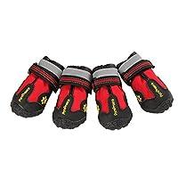もう一つ選択防水犬ペットの靴反射ヴェルクロ4本入り(4、赤)の中型および大型犬用のプロテクター
