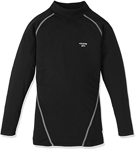 (エーディーワン)A.D.ONE ジュニア発熱ヒートコンプレッションシャツ/インナーシャツ/ストレッチアンダーシャツ/ボーイズガールズ発熱保温インナー/ジュニアコンプレッションウェア/サーモインナー ADCJ-17  ブラック×グレー 140.0