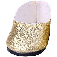 ノーブランド品  ファッション ドール ブリンブリン シューズ  18インチ アメリカンガールドール用 10色選べる - ゴールド