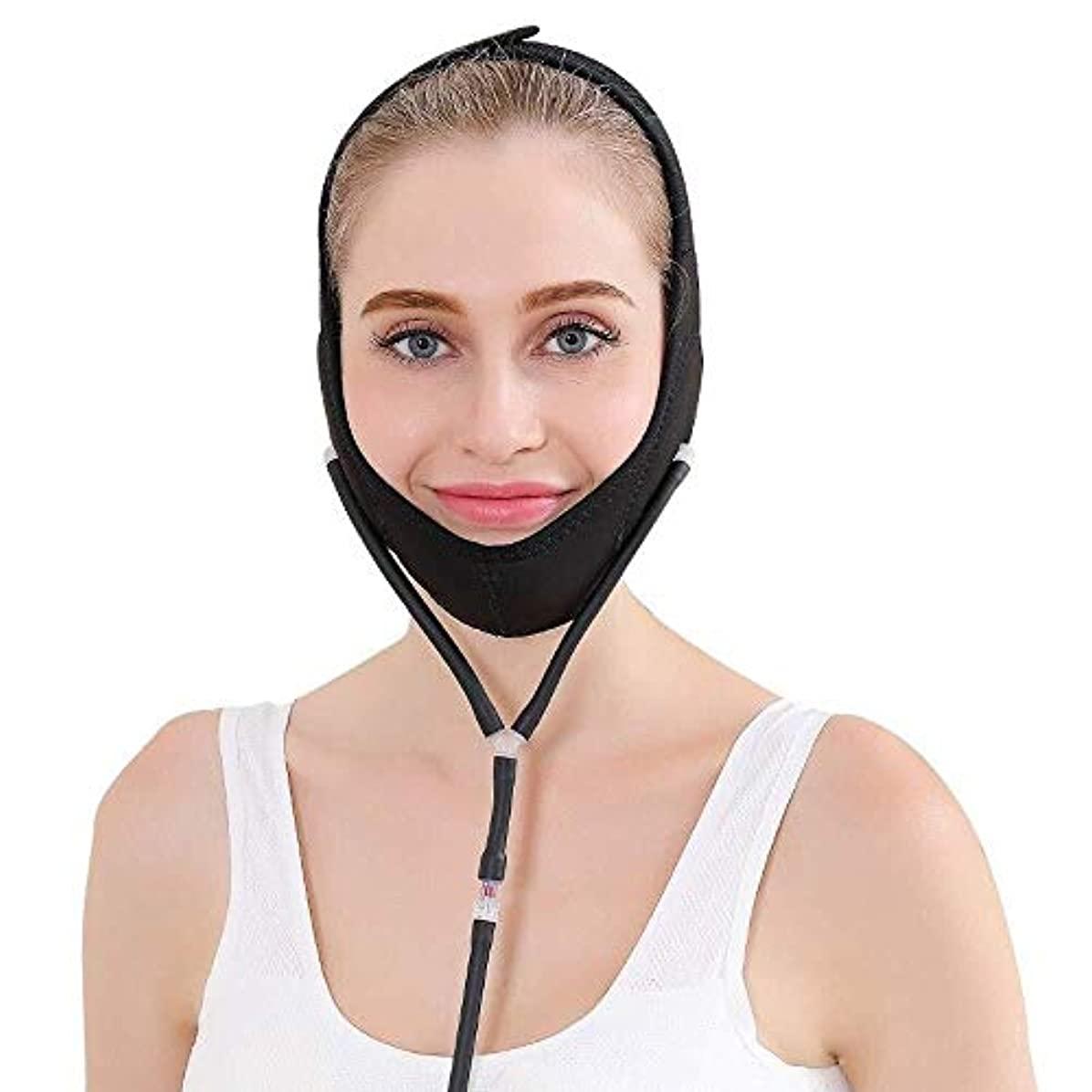 立証するかごフレットJN ベルト、インフレータブルは、ファーミングダブルチンリデューサーを持ち上げる3色のフェイスリフト包帯顔非対称中括弧フェイスマスクフェイスリフティング たるみ防止マスク (Color : B)