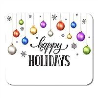 MLsbdゲーミングマウスパッドハッピーホリデーモダンニューイヤーレタリング雪片Ansクリスマス装飾オフィスノンスリップラバーバッキングマウスパッドマウスマット