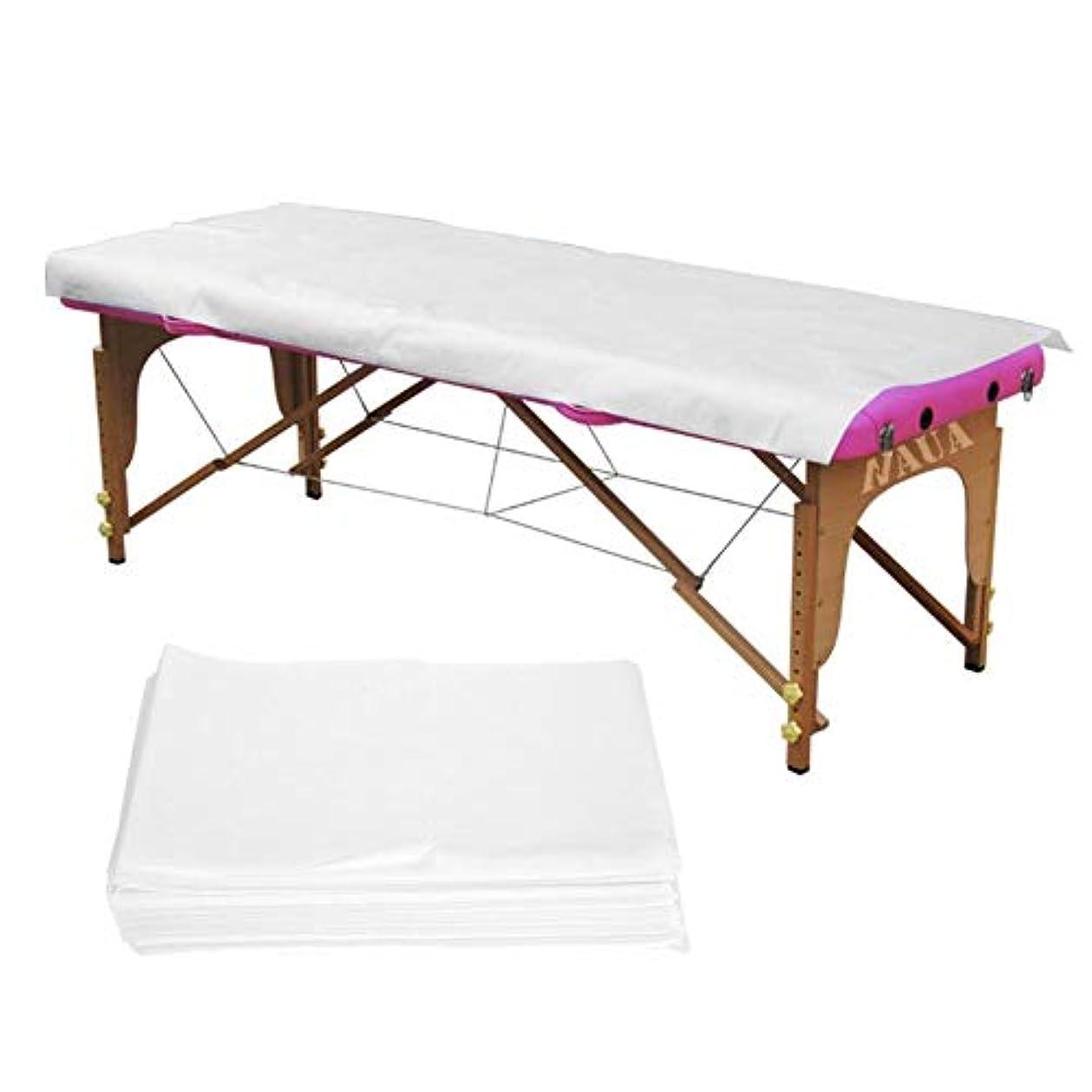 部族存在無駄使い捨てベッドシーツ、2色10個/袋スパ使い捨てベッドシーツ美容院マッサージ不織布防水アンチオイル(White)