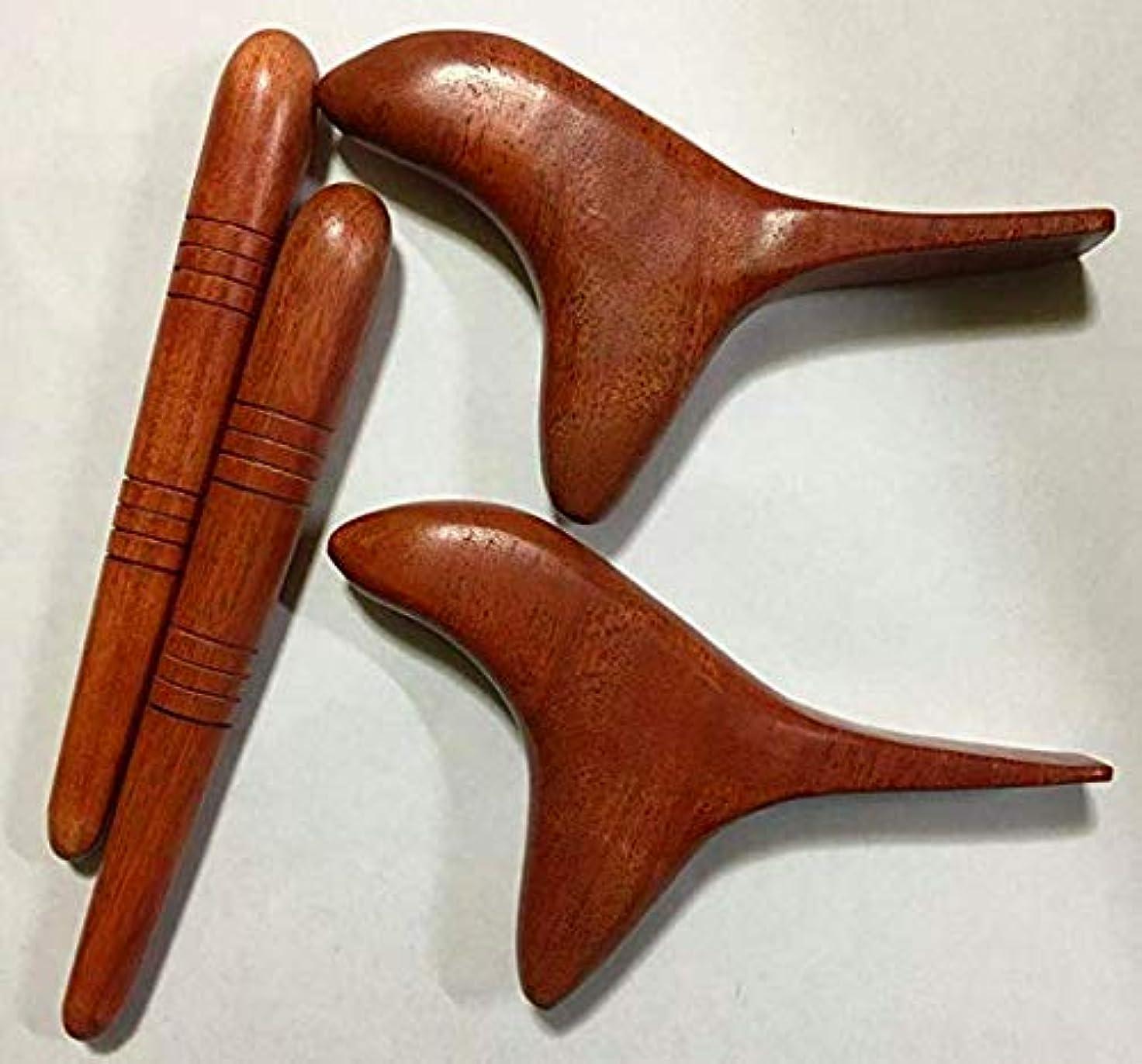 エーカークッション吐き出す【2種類×2セット】オカリナ型 (鳥型)ツボ押し棒 + 棒型 天然木 マッサージ棒 フットマッサージ リフレクソロジー セルフマッサージ