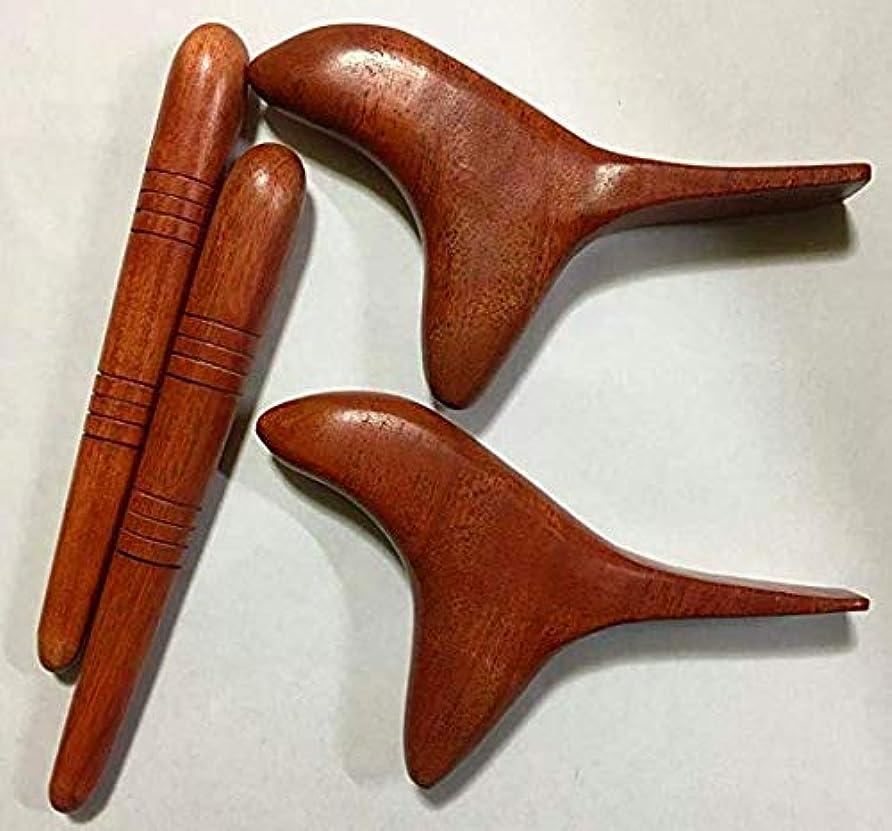 突っ込む長いですの【2種類×2セット】オカリナ型 (鳥型)ツボ押し棒 + 棒型 天然木 マッサージ棒 フットマッサージ リフレクソロジー セルフマッサージ