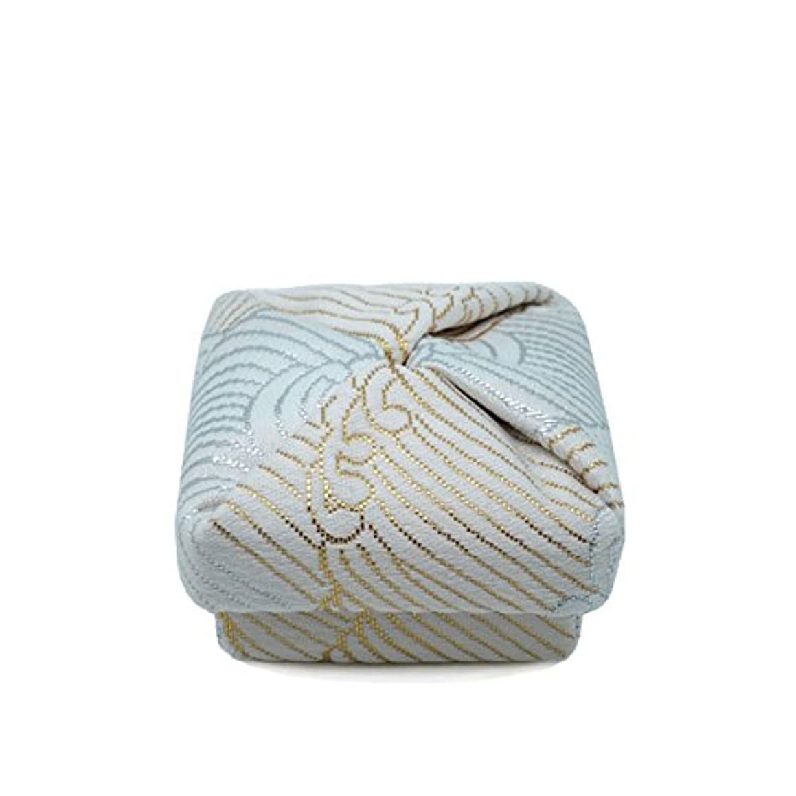 上げる高い自伝布香合‐角‐ 紙箱入 波 白