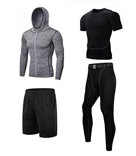 コンプレッション インナー スポーツ Tシャツ セット メンズ グレー M