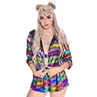 LUMiShop Women's Color Changing Neon Blazers, Cropped Sleeve Sequin Bomber Colorful Bolero Shrug Rave Hoodie Jacket