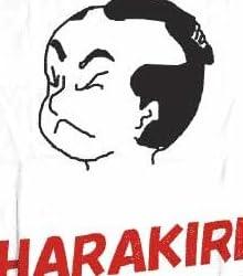 【ワンコインTシャツ500円】ジョークTシャツ ハラキリ(切腹) 白 Mサイズ