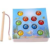 木製 磁気釣りボードゲーム 教育玩具 12個リトルフィッシュ 幼児 安全 耐久性 パズル ギフト