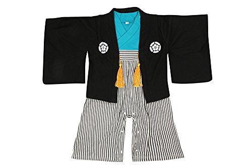 紋付袴(はかま)風 ベビー羽織付きロンパース 【247153】70cm ブラック