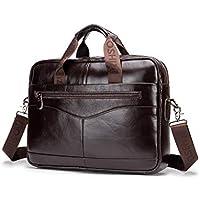 Men's Shoulder Bag, Popoti Leather Handbag Bag Briefcase Grand Laptop Bag School Bag Multifunctional Vintage Crossbody Messenger Bag
