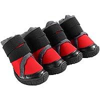 Petacc 犬用シューズ 犬用靴 犬のブーツ 滑り止め 肉球保護 4個セット