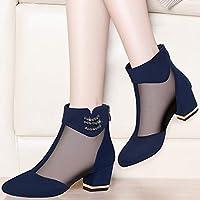 ASxinZ 女性の靴春の黒の均一な作業靴で厚く新しいハイヒール,37,青
