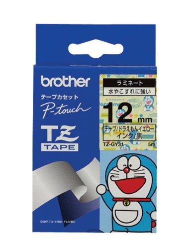 BROTHER TZ-GY31 ドラえもんイエロー/黒文字 12mm