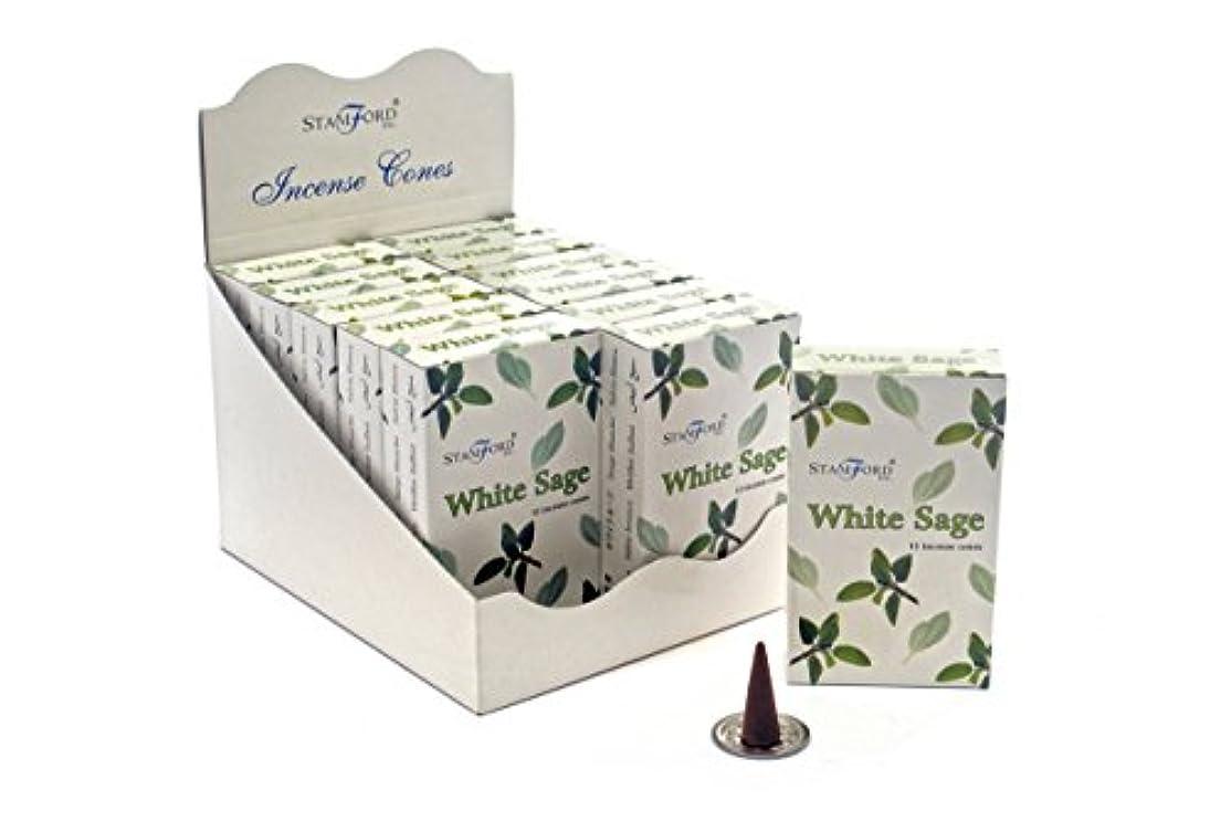 グリルデイジーリボンStamfordホワイトセージ香コーン、12 xパック15