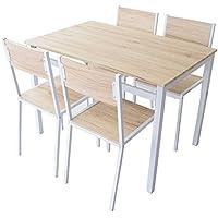 (DORIS) ダイニングテーブル 5点セット 【スクエア ナチュラル】 テーブル&チェア(5点セット) 4人掛け 幅:110cm 組み立て式