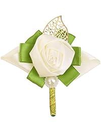【ノーブランド品】ローズ ブートニア グルーム ブライダル コサージュ ブローチ 結婚式 装飾 ピン クリップ 造花 ホワイト