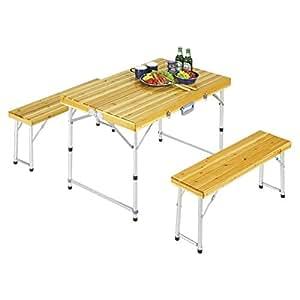 キャプテンスタッグ テーブル シダー杉製 ベンチ インテーブルセットナチュラル M-3770