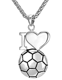 U7 メンズネックレス サッカー I Love Soccer スポーツ ヒップホップ アクセサリー 316Lステンレス[GP2269]