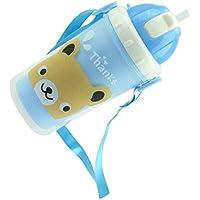 Dovewill キッズ ストローボトル 水ボトル 水筒 マグカップ ストラップ 携帯便利 300ml 全3色選べる - ブルーベア