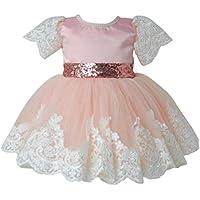 ウェディングドレス、balakie女の子プリンセスブライズメイドミスコンテストレースチュチュチュールガウンパーティー 24M ピンク BK-15989