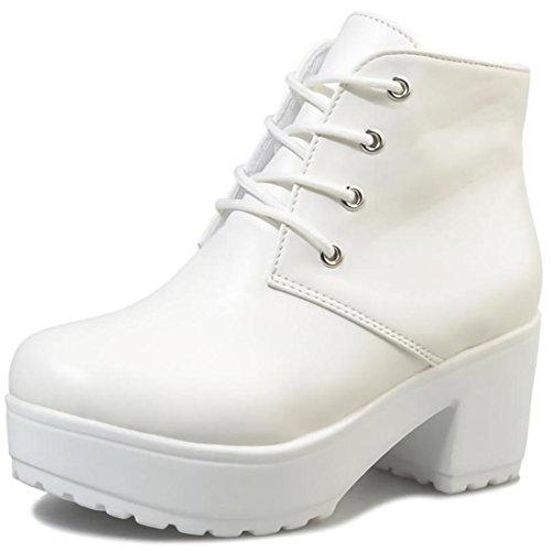 (ビューメンス) Beaumens 厚底 ショート ブーツ レース アップ 秋 冬 レディース シューズ 靴 くつ ブーティ 230 白 36