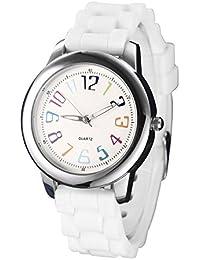 NUOVO 腕時計 レディース ホワイト シリコンベルト 女性用 アナログ ウオッチ ガールズ 時計