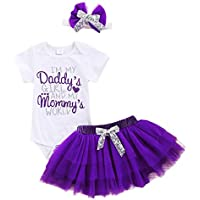 Infant Baby Girl Mother's Day Skirt Set Short Sleeve Romper +Tutu Dress +Leg Warmers +Bowknot 4pcs Summer Clothes Outfit
