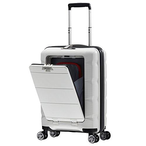TABITORA(タビトラ) スーツケース メーカー1年保証 機内持込 フロントオープン キャリーバッグ TSAロック搭載 旅行用品 出張 超軽量 静音 8輪 ホワイト