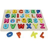 HOMYL Wooden Alphabet Blocks Uppercase Letter Puzzle Board Montessori Reading Matching Game Literacy Educational Teaching Aids Toy Xmas Gift