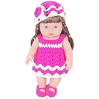 KIDDING 30cmハンドメイドセーター シミュレーション赤ちゃん 入浴人形 ソフトベビー 幼児教育 劇場 子供たち プリンセス 若い女の子 おもちゃ人形 (ピンクスカートのセーターストレートヘア少女の人形)