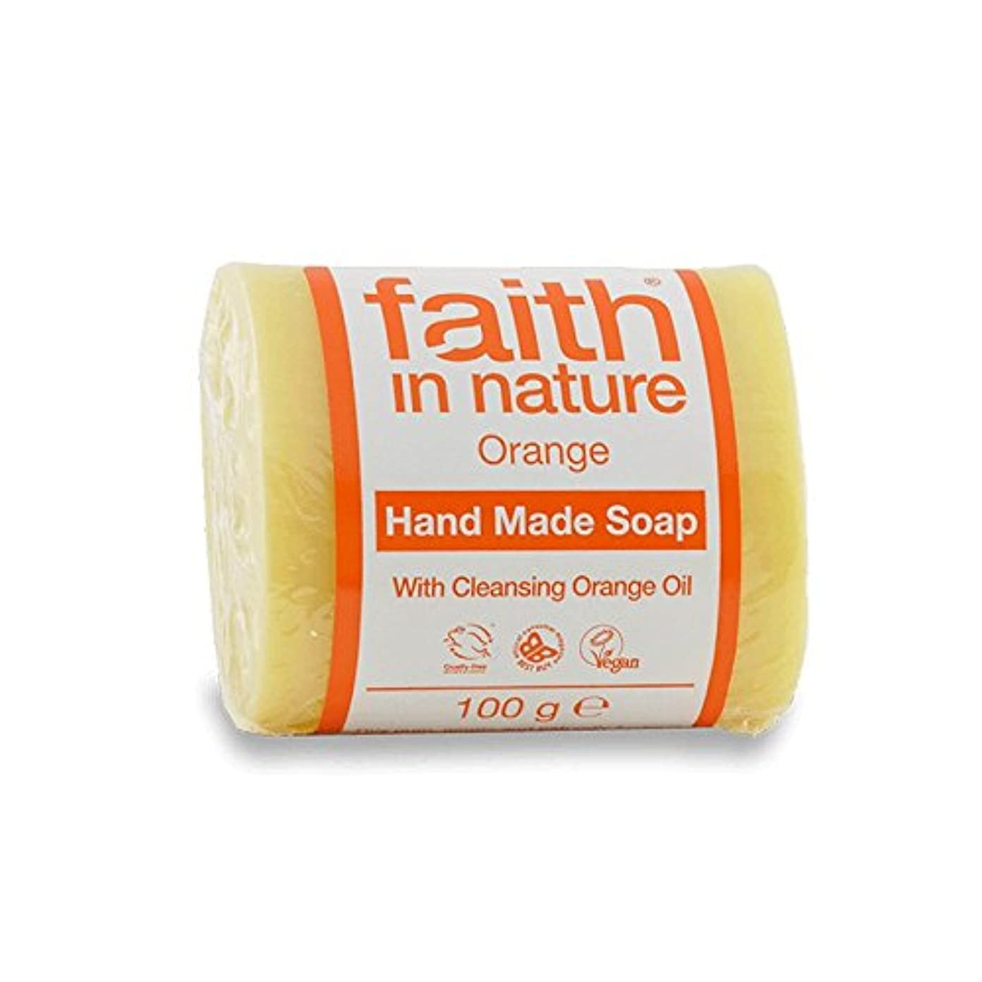 受信津波優勢Faith in Nature Orange Soap 100g (Pack of 6) - 自然オレンジ色の石鹸100グラムの信仰 (x6) [並行輸入品]
