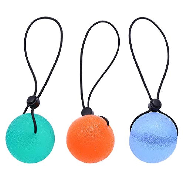 マイクロフォンネコ意識的HEALLILY 3個ハンドセラピー運動ボールグリップ強化剤指グリップボールと文字列