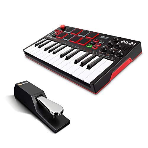 Akai Professional スタンドアローン・MIDIキーボードコントローラー【内蔵音源、電池駆動、スピーカー搭載】 MPK Mini Play + M-Audio フットペダル 電子ピアノ・キーボード対応 SP-2