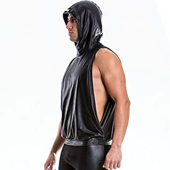 M ブルー (モダス ビベンディ) ModusVivendi blend hoodie フェイクレザー フード付き アームホール ノースリーブパーカー