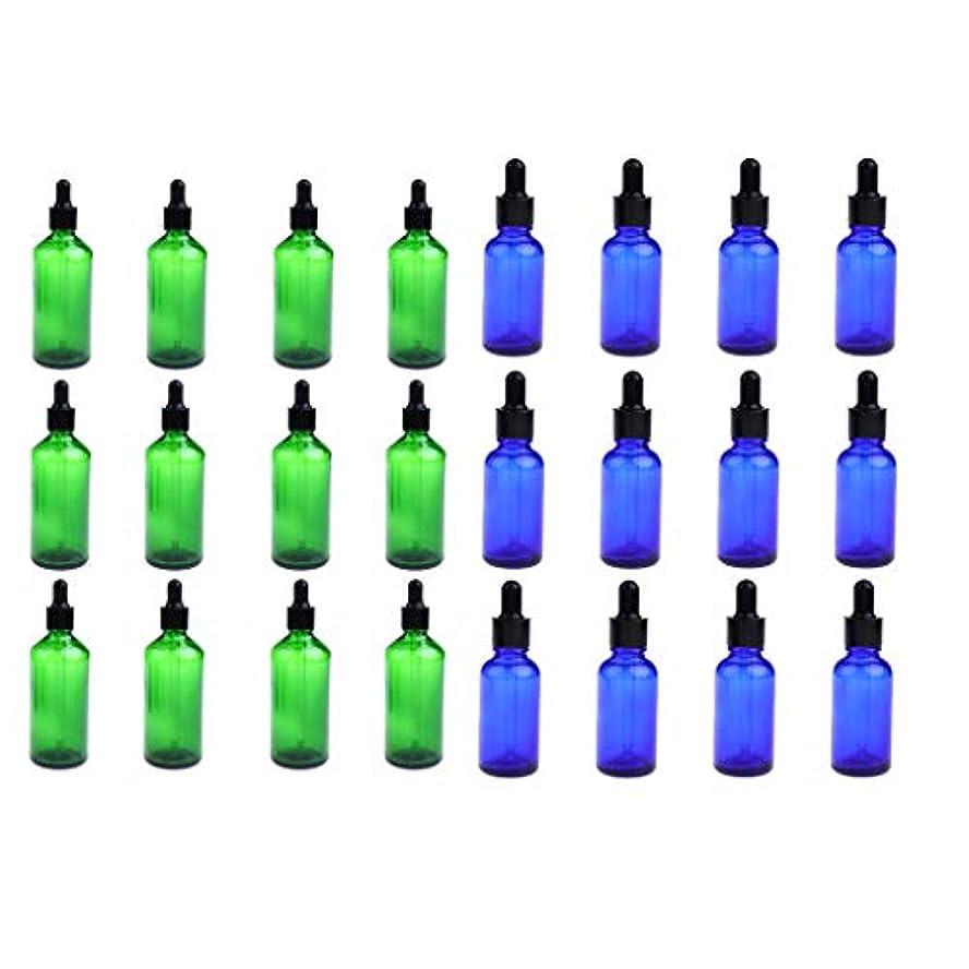 市町村指令グリットPerfeclan 24個 スポイトボトル ガラスボトル 空瓶 精油瓶 遮光ビン 詰替え 30ミリ 緑+青