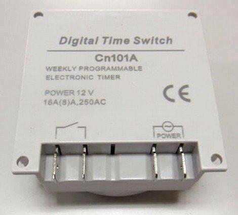 小型・軽量 プログラム タイマースイッチ リレー付(DC12V)  ファストン端子付ケーブル 4本付属 セット