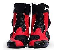 PRO SPEED A004オートバイ レーシングブーツ バイク用ブーツ 靴 (赤, 41)