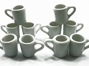 Set 10 Coffee Tea White FUNNEL Cup Mug Doll House Miniature Kitchen Ceramic Deco Charms - 3863 ドール 人形 フィギュア(並行輸入)