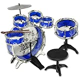 9 Piece Kids Drum Kit Set Jazz Drum Junior Drum Kit 6 Drums, Cymbal, Chair, Kick Pedal, Drumsticks